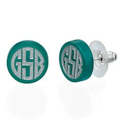 Silver or Gold Monogram Block Acrylic Stud Earrings