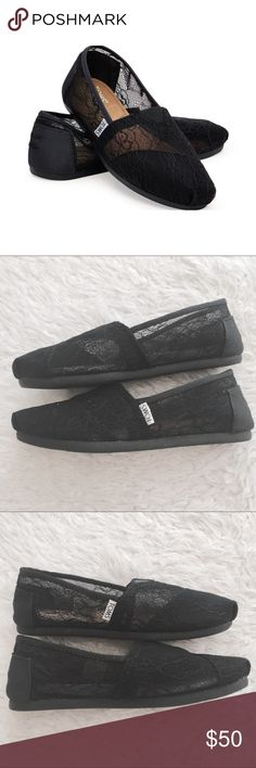 [toms] classic black lace mesh shoes flats Up for grabs are a pair of black  lace Classics. The lace is more of a mesh/lace combination. These were …