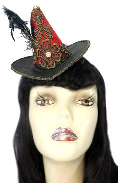 Red Mini Witch Hat Fascinator Gothic Steampunk by JenkittysCloset