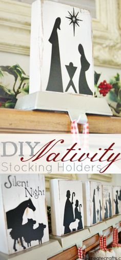 DIY Nativity Stocking Holders - or make a wooden child-proof nativity set! MichaelsMakers U-Create Crafts