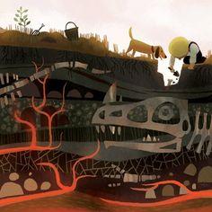 biology ilustrations Adventure-Fossil Digs Print - Joey Chou on Big Cartel Children's Book Illustration, Digital Illustration, Illustration Children, Joey Chou, Arte Dachshund, Illustrations Posters, Game Art, Book Art, Concept Art