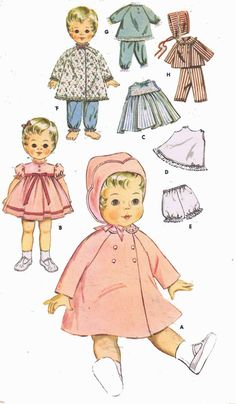 "Vtg 1950s Doll Clothes Dress Pattern ~ 16/"" Saucy Walker Thumbelina Tiny Tears"