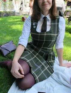 Adrian Dress Adrian Dress,Ariana Handmade Tweed dress Easy to wear dress with feminine shape. I originally made this dress for myself and it has been wore only once. regarding the colours, it. Fashion Teenage School, School Uniform Fashion, School Uniform Girls, English School Uniform, Cute School Uniforms, Girls Uniforms, Girl Outfits, Casual Outfits, Fashion Outfits