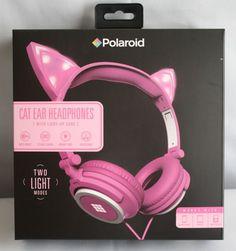 New Polaroid Pink Cat Ear Headphones Light Up Ears Light Up Headphones, Best In Ear Headphones, Cat Headphones, Headphones Online, Wireless Noise Cancelling Headphones, Headphones With Microphone, Polaroid, Unicorn Gifts, Pink Cat