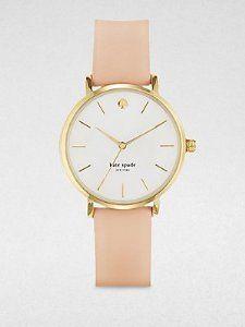 Kate Spade Watches Women's 1YRU0073 Classic Gold Metro Vachetta Strap Watch