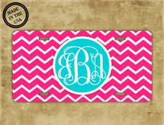 Monogrammed chevron license plate  Hot pink by ToGildTheLily, $15.99