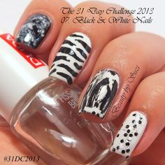 The 31 Day Challenge: 07. Black & White Nails