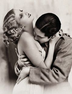 The kiss. 1920s. Oh, those silly flappers.