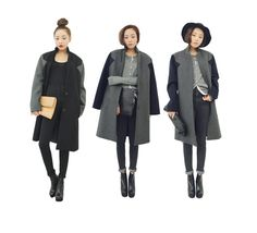 Wool Basic Long Coat with Contrast Sleeves