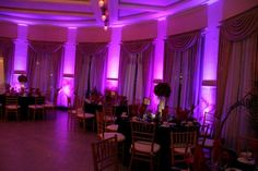 Purple uplighting at reception!