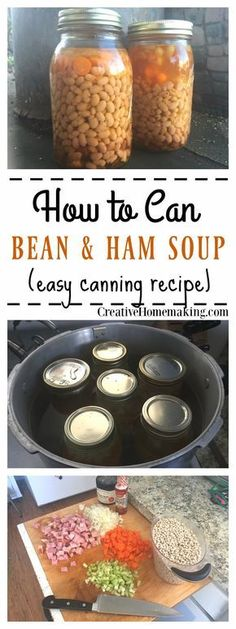 How to can homemade bean and ham soup. Step by step pressure canning for beginners.