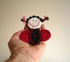 Monogram Crochet Ladybug Pin Initial Brooch by MonikaDesign