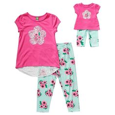 Girls 4-14 Dollie & Me Lace High-Low Tee & Floral Leggings Set, Girl's, Size: