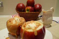 baked apple with vanilla ice cream and caramel