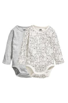 65367e1936 2-pack long-sleeved bodysuits - Light grey Patterned -