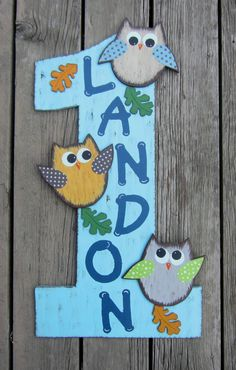 First Birthday Boy Owl Sign  Hand Painted Wood  by BirchTreeKids, $79.99
