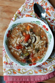 Slow Cooker Italian Chicken, Mushroom and Barley Soup