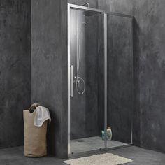 Porte de douche coulissante SENSEA Purity 3 verre transparent chromé 100 cm