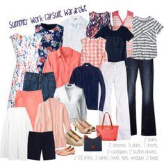 Southern Summer work capsule wardrobe: navy & coral