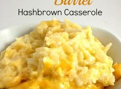 Cracker Barrel Hashbrown Casserole Recipe 32oz frozen shredded hash browns 1/2 cup melted butter 1 (10 1/4 ounce) can of cream of chicken soup 1 pint of sour cream 1/2 cup onion finely chopped 2 cups grated colby cheese 1/4 teaspoon pepper Preheat oven to 350. 2. Mix all ingredients together. 3. Place in a greased 9x13 casserole dish. 4. Bake for 45 Minutes.