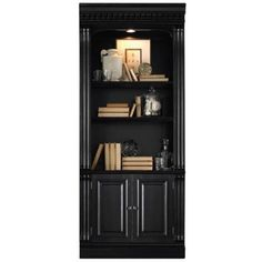 Hooker Furniture Telluride Bunching Bookcase with Doors (€1.355) ❤ liked on Polyvore featuring home, furniture, storage & shelves, bookcases, black, black bookcase, black shelf, modular bookcase, modular bookshelves and modular shelving