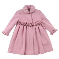 Little Girls Rosette Front Wool Coat.