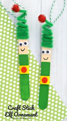Kids will love creating this fun craft stick elf ornament from a craft stick and pipe cleaner to hang on the Christmas tree. Kids will love creating this fun craft stick elf ornament from a craft stick and pipe cleaner to hang on the Christmas tree. Kids Crafts, Craft Stick Crafts, Preschool Crafts, Craft Projects, Craft Ideas, Craft Sticks, Easy Crafts, Toilet Paper Crafts, Plate Crafts