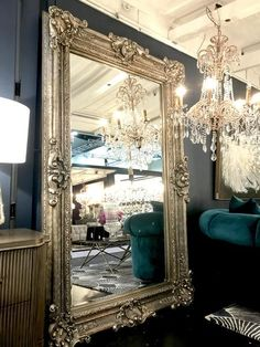 Simple and Crazy Tips and Tricks: Large Wall Mirror Decor wall mirror with shelf interior design.Large Wall Mirror Decor wall mirror above couch mantels. Decor, Silver Wall Mirror, Big Wall Mirrors, Mirror Design Wall, Mirror Wall Living Room, Home Decor, Mirror Decor, Mirror Wall Bedroom, Ornate Mirror
