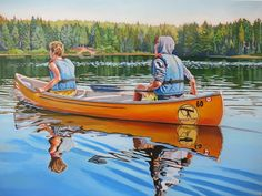 Paddlers Acrylic on Gallery Canvas Algonquin Park Available at Koyman Gallery Canadian Artists, New Artists, Landscape Quilts, Landscape Paintings, Amazing Paintings, Art Pictures, Art Pics, Stone Painting, Love Art