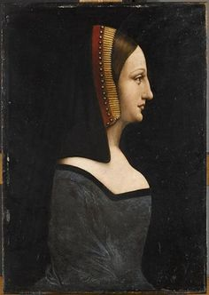 Isabella of Aragon, Duchess of Milan This is a very unusual portrait of Isabella of Aragon, because the painter dressed her like a French princess. That the depicted is Isabella of Aragon we can see at her headdress which is decorated with the colours of the Royal House of Aragon, red and yellow (or gold).