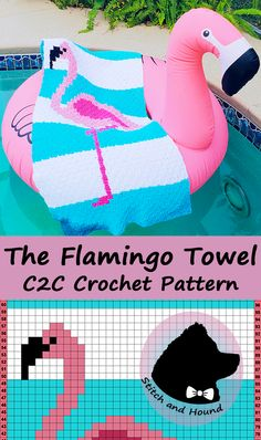 The Flamingo Towel corner to corner crochet pattern. Perfect for summer, this trendy crochet pattern uses Lily Sugar'n Cream cotton yarn. Fun and easy to create, this unique summertime must-have will make a statement at the beach, and while lounging by the pool.