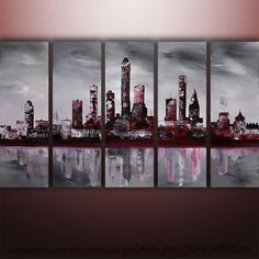 Large Painting Abstract Original Modern Cityscape Art by Gabriela 50x30 black white red