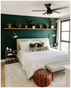 Bedroom Paint Colors, Bedroom Makeover, Bedroom Interior, Bedroom Green, Home Decor, Bedroom Furniture, Bedroom Inspirations, Small Bedroom, Forest Green Bedrooms