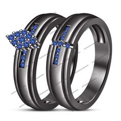 14Kt Black Gold Finish And Lab-Created Round Blue Sapphire Engagement Bridal Set