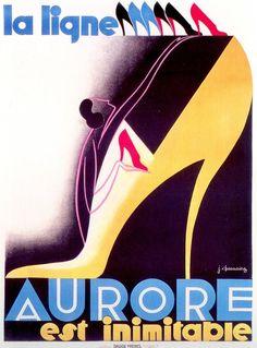 'La Ligne Aurore' Shoes : Original Art Deco Poster by Jean Chassaing, 1930. Lithograph France