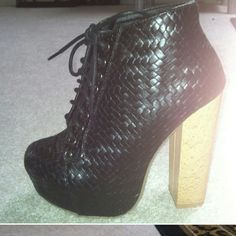 NEVER WORN LACE BOOTIES Never worn woven pleather booties with wooden heel. Size 5.5 shoedazzle  Shoes