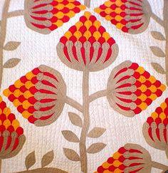 Vtg 1870s Museum Quality Hand Stitched Strawberry Flower Applique Cotton Quilt