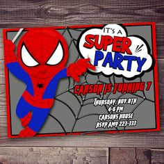 Spiderman Invitation, birthday party  invitation, FREE wording personalization on Etsy, $8.00