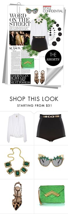 """Word on the Street: THE Shorts"" by lisafcastaneda ❤ liked on Polyvore featuring INC International Concepts, Haute Hippie, River Island, Yochi, Valentino, Rachana Reddy, leopard print, emerald green, statement necklaces and black shorts"