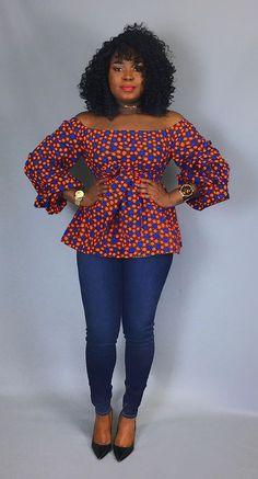 Imprimé africain haut épaule avec ceinture vêtements