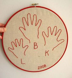 Embroidered hand prints