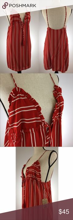 """NWT HOT Summer Candy-cane Dress Size Medium •Shoulder/hem: 34"""" •bust:~34"""" •""""Triangle"""" (top to bottom): 6.5"""" •fully lined, two tassels, pull over, v neck Cotton Candy LA Dresses Midi"""