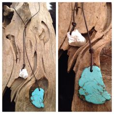 Simple Turquoise and Fireball Drop Necklace by ChristianOPearls, $48.00