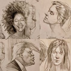 "I hope folks might forgive a touch of my sense of humor when I demo.. here is a page of studies when talking to my students about how to construct hair.. I think about all hair as clumps of value.. and ""organized chaos""... curly hair is the most time consuming.. our President's hair I find interesting to try to deconstruct! Big Afro's are my favorite of all! #dessin #art #artist #illustration #fineart #headdrawing #portrait #portraiture #desenhorealista #kevinwueste #instaart #instagood…"