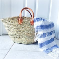Straw market basket // striped scarf