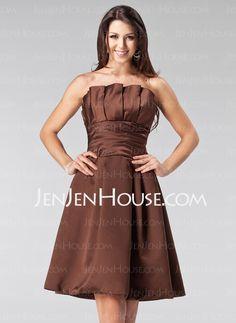 Bridesmaid Dresses - $92.99 - A-Line/Princess Scalloped Neck Short/Mini Satin Bridesmaid Dresses With Ruffle (007005206) http://jenjenhouse.com/A-line-Princess-Scalloped-Neck-Short-Mini-Satin-Bridesmaid-Dresses-With-Ruffle-007005206-g5206