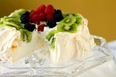 Traditional Pavlova - whip up egg whites into a stiff and glossy meringue and pile it into a circle. Bake it and let it cool, and then top it with fresh whipped cream and your favorite fruit. As it dries it will crack and dip and do all sorts of funny things. It slices clean and pretty and has an incredibly light texture.