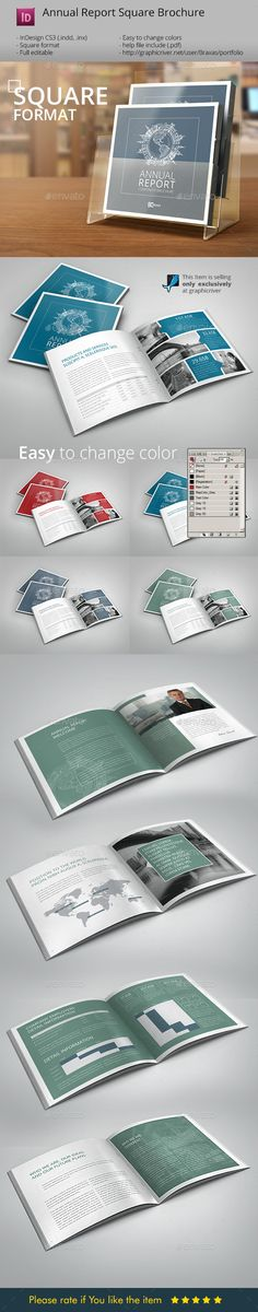 Annual Report InDesign Square Brochure  —  InDesign Template • Only available here! →…