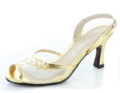 The classic clear heel has been a sexy staple shoe for pinup icons like Marilyn Monroe since the early 1950's. Bettie Page Clothing and Ellie Shoes teamed up to create the beautiful Barnett, a ladylike kitten heel at 3 inch height.  This slingback shoe is detailed with silver or gold peeptoe, and a clear heel. $75.00