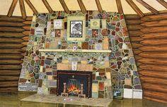 1935 Fireplace of States Bemidji Minnesota Vintage Postcard